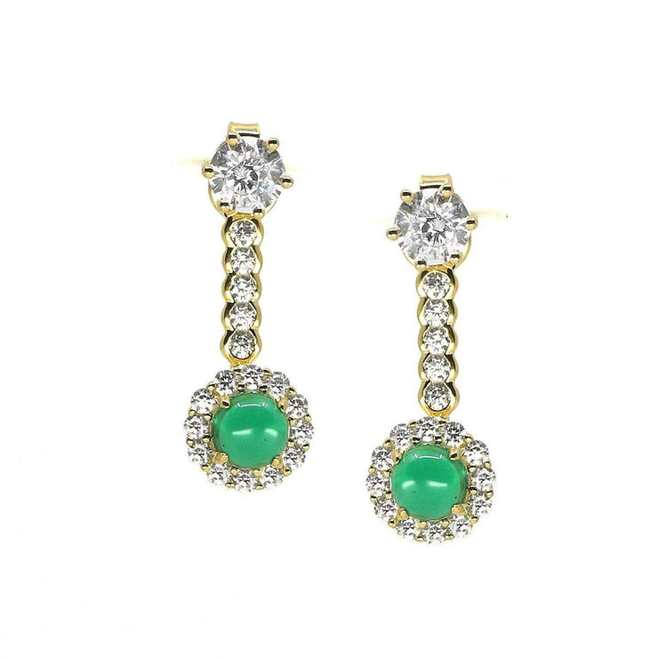 Anastasia 16 Earrings Emerald Green Gold - Anna Zuckerman Luxury Dainty .5 carat jade green round crystalline with diamond white pave halo and pave encrusted ear jacket with .5 carat diamond white round crystalline for 3tcw, set in yellow gold-plated sterling silver 925