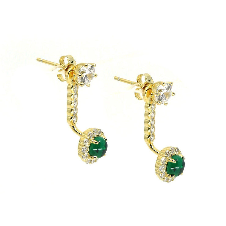 Anastasia 16 Earrings Emerald Green Gold - Anna Zuckerman Luxury Earrings