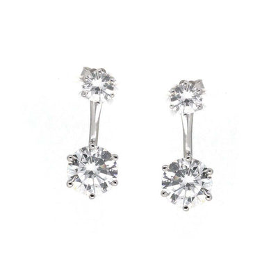 Anastasia 18 Earring Diamond White - Anna Zuckerman Luxury 1.5 carat diamond white round crystalline ear jacket on a .25 diamond white round crystalline post for a 3.5tcw set in platinum plated sterling silver