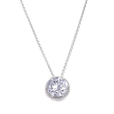Anastasia 20 Necklace Diamond White - Anna Zuckerman Luxury Glamorous 5 carat round crystalline with pave halo pendent on a dainty chain set in platinum plated sterling silver 925