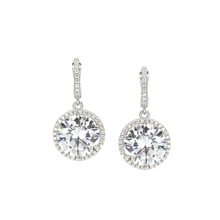 Anastasia 20 Earrings Diamond White - Anna Zuckerman Luxury Glamorous drop 5 carat round diamond white crystalline with pave halo and pave encrusted huggie and pave encrusted back setting for 11tcw set in platinum plated sterling silver 925