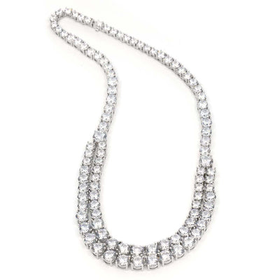 Anastasia 21 Necklace Diamond White - Anna Zuckerman Luxury Gorgeous necklace of graduated diamond white round crystalline for a total carat weight of 101 set in platinum plated sterling silver