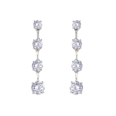 Anastasia 24 Earrings Diamond White - Anna Zuckerman Luxury Modern drop earrings with 4 graduated round diamond white crystallines for 3.5 tcw set in platinum plated sterling silver 925
