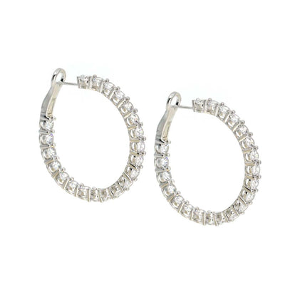 Anastasia 28 White Diamond White Hoop Lg - Anna Zuckerman Luxury Earrings