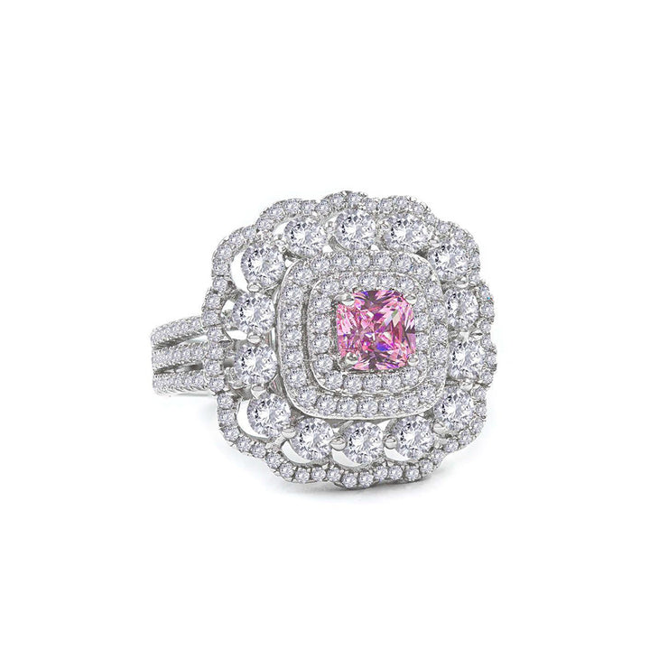 Anastasia 10 Ring Argyle Pink - Anna Zuckerman Luxury Ornate quad halo of white crystalline surrounds a beautiful .5 carat princess argyle pink crystalline center stone for a total weight of 2.5 carats. Set in platinum plated sterling silver 925.