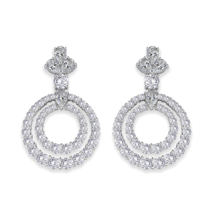 Anastasia 03 Earring Diamond White - Anna Zuckerman Luxury Elegant drop graduated round diamond white crystalline double hoop earrings topped with one round diamond white crystalline and crowned with 3 pear shaped diamond white crystalline for a total carat weight of 5.5 carats each and 11tcw for the pair, set in platinum plated sterling silver 925