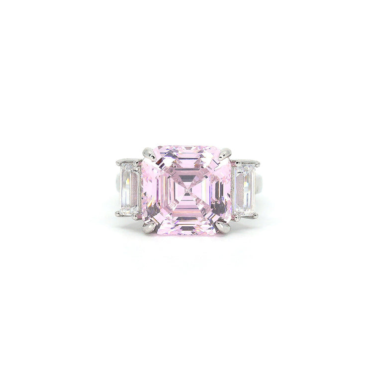 Arabella 04 Ring - Anna Zuckerman Luxury Ultimate classic 3 stone ring with a 9 carat center argyle pink crystalline stone and 2 carat side white emerald cut diamond crystalline for a total combined gem weight of 11 carats set in platinum plated sterling silver 925
