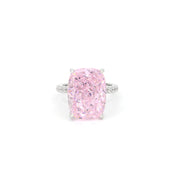 Diana 03 Ring - Anna Zuckerman Luxury Bridal look of 16 carat cushion cut diamond white crystalline sitting atop thin pave encrusted band set in platinum plated sterling silver 925 #color_argyle-pink