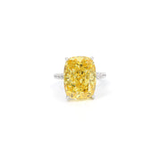 Diana 03 Ring - Anna Zuckerman Luxury Bridal look of 16 carat cushion cut diamond white crystalline sitting atop thin pave encrusted band set in platinum plated sterling silver 925 #color_canary-yellow