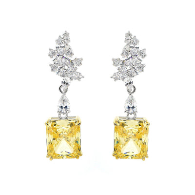 Diana 09 Earrings Canary Yellow - Anna Zuckerman Luxury 20 gorgeous carats of canary yellow crystalline drop crowned with leaf design of multifaceted diamond white crystalline set in platinum plated sterling silver 925