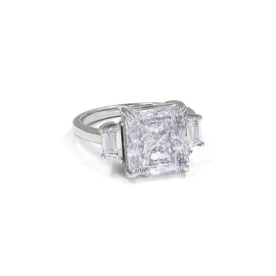 Diana 26 Ring 6.5tcw Diamond White - Anna Zuckerman Luxury Classic 5 carat cushion diamond white crystalline ring with two baguette diamond white crystalline accents 6.5tcw set in platinum plated sterling silver 925