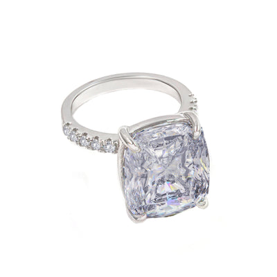 Diana 02 Ring - Anna Zuckerman Luxury Bridal look of 10 carat cushion cut crystalline sitting atop thin pave encrusted band set in platinum plated sterling silver 925 #color_diamond-white