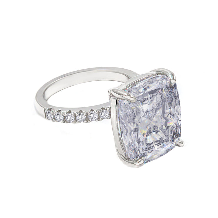Diana 02 Ring - Anna Zuckerman Luxury Bridal look of 10 carat cushion cut crystalline sitting atop thin pave encrusted band set in platinum plated sterling silver 925