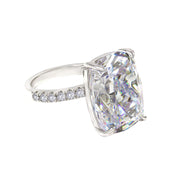 Diana 03 Ring - Anna Zuckerman Luxury Bridal look of 16 carat cushion cut diamond white crystalline sitting atop thin pave encrusted band set in platinum plated sterling silver 925 #color_diamond-white