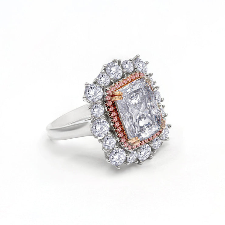 Diana 06 Ring - Anna Zuckerman Luxury An exquisite 6 carat crystalline asscher cut center surrounded by multifaceted double halo diamond white crystalline total combined weight of 8 carats set in platinum plated sterling silver 925