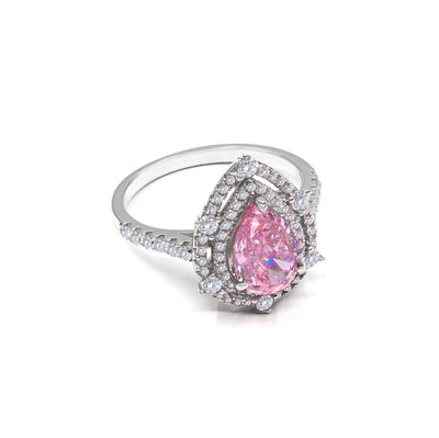 Elizabeth 05 Ring Argyle Pink - Anna Zuckerman Luxury Bridal elegance, 2.5 carat pear argyle pink crystalline, with two argyle pink and diamond white pave halos on a diamond white pave encrusted band set in platinum plated sterling silver 925