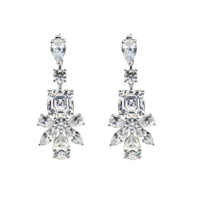 Show-stopping 6 carat multi-shaped diamond white crystalline chandelier earring, 12tcw set in platinum plated sterling silver 925