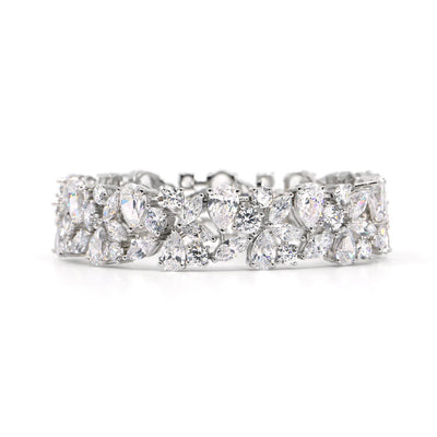 Breathtaking 25tcw multifaceted diamond white crystalline tennis bracelet set in platinum plated sterling silver 925