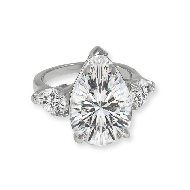 Elizabeth 01 Ring Diamond White - Anna Zuckerman Luxury Gorgeous three pear ring featuring 7 carat diamond white center for a total weight of 8.5 carats set in platinum plated sterling silver 925