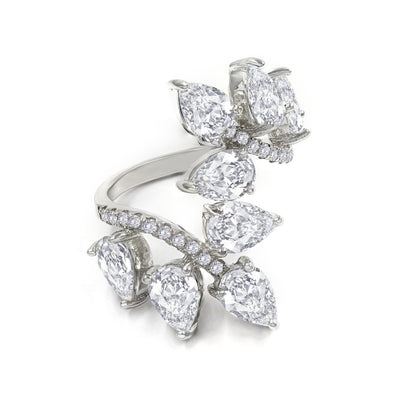 Elizabeth 02 Ring Diamond White - Anna Zuckerman Luxury Modern 4 carats of pear diamond white crystalline set atop a wrapped band encrusted with round diamond white crystalline 4.5 tcw set in platinum plated sterling silver