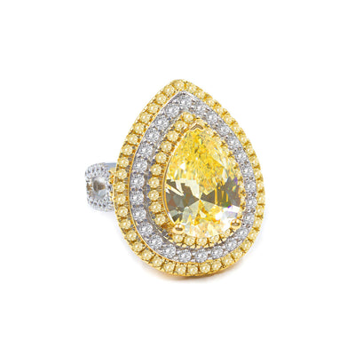 Elizabeth 03 Ring Canary Yellow - Anna Zuckerman Luxury Two tone triple halos ring featuring a gorgeous 3 carat canary yellow pear shaped crystalline for a total weight of 4.25 carats set in platinum plated sterling silver 925