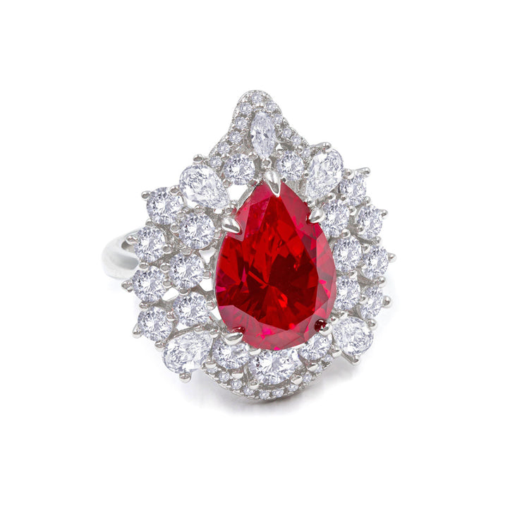 Elizabeth 04 Ring Ruby Red - Anna Zuckerman Luxury 6 carat pear ruby crystalline surrounded by multifaceted diamond white crystalline for total weight of 8 carats set in platinum plated sterling silver 925