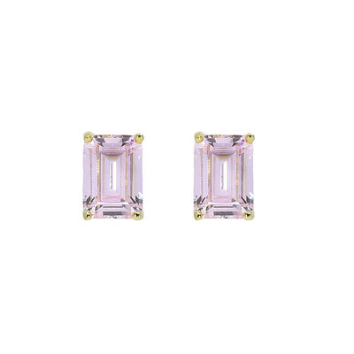 Classic stud argyle pink emerald cut crystalline 2tcw set in rose gold, yellow gold, or platinum plated sterling silver 925 #metal-color_gold