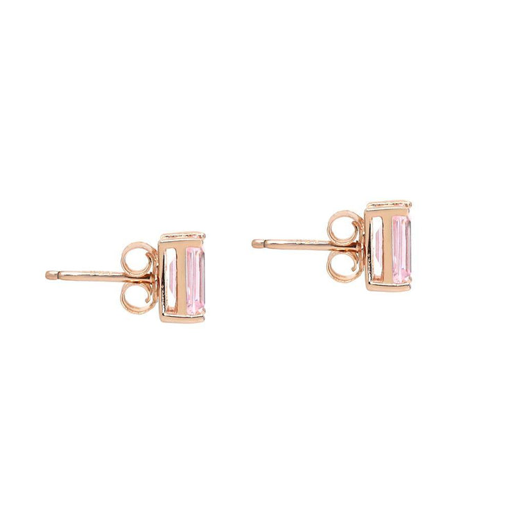 Classic stud argyle pink emerald cut crystalline 2tcw set in rose gold, yellow gold, or platinum plated sterling silver 925