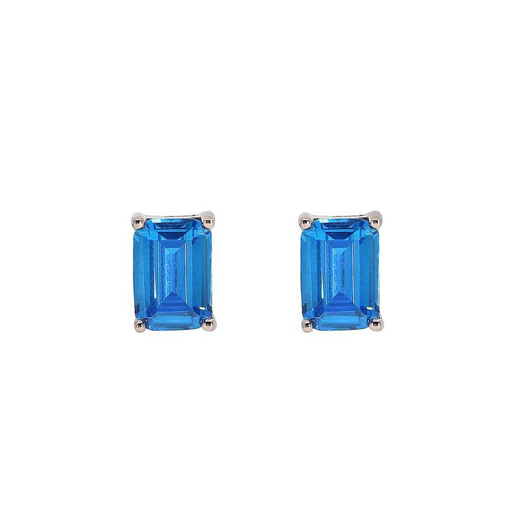 Classic stud vivid blue emerald cut crystalline 2tcw set in rose gold, yellow gold, or platinum plated sterling silver 925