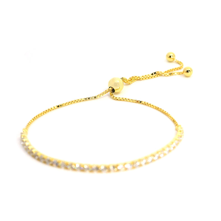 Timeless classic, striking line of individually prong set diamond white crystalline 1.75tcw on signature adjustable chain set in yellow gold plated sterling silver 925