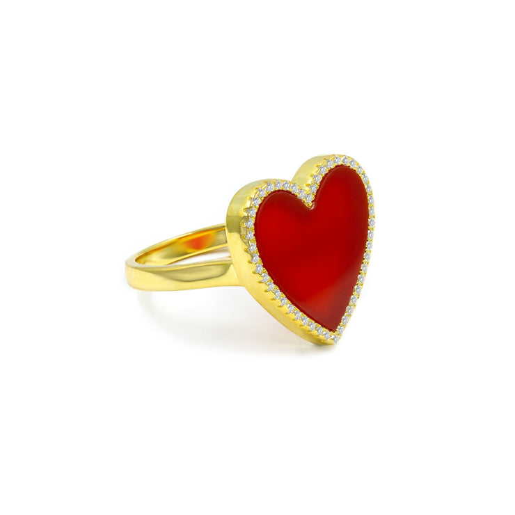 House of Cards Ring in Ruby Red