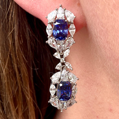 Victoria 37 Earrings Sapphire Blue - Anna Zuckerman Luxury