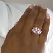 Arabella 04 Ring - Anna Zuckerman Luxury Ultimate classic 3 stone ring with a 9 carat center argyle pink crystalline stone and 2 carat side white emerald cut diamond crystalline for a total combined gem weight of 11 carats set in platinum plated sterling silver 925 #color_argyle-pink