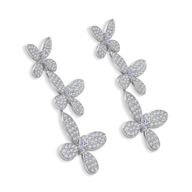 3 graduated diamond white crystalline encrusted butterflies with marquise diamond white crystalline 10tcw set in platinum plated sterling silver 945