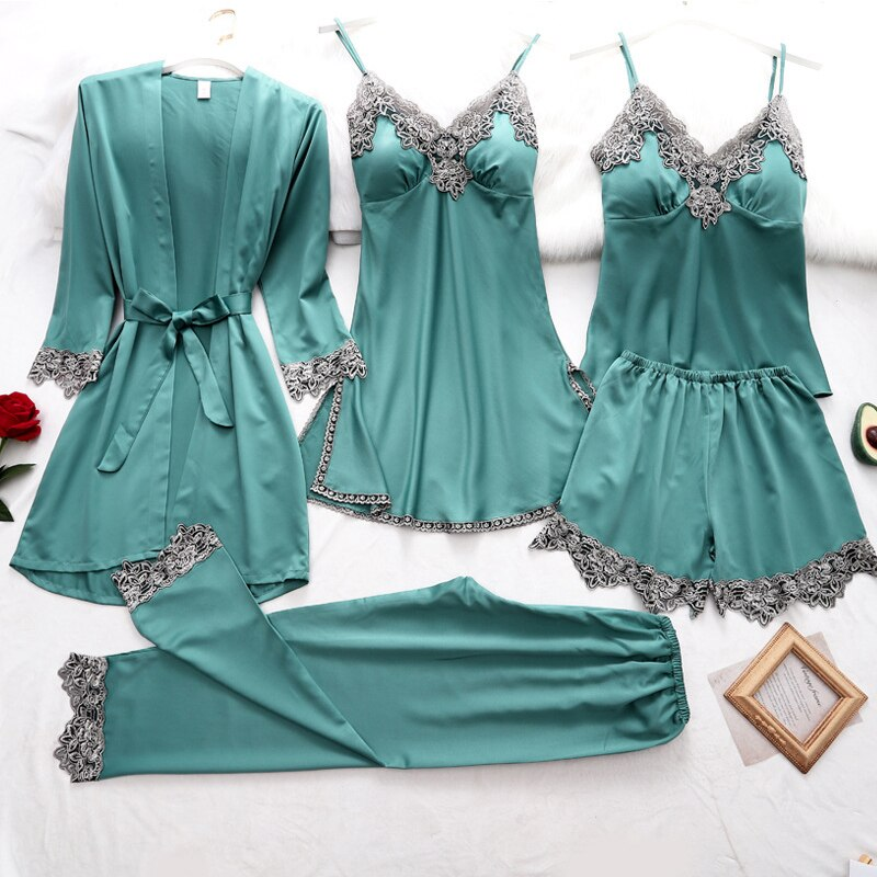 Women's Pajama Set 5Pcs Silk Solid Home Wear Spring Summer Lace Ladies Thin Pajama with Chest Pads Sleepwear for Female