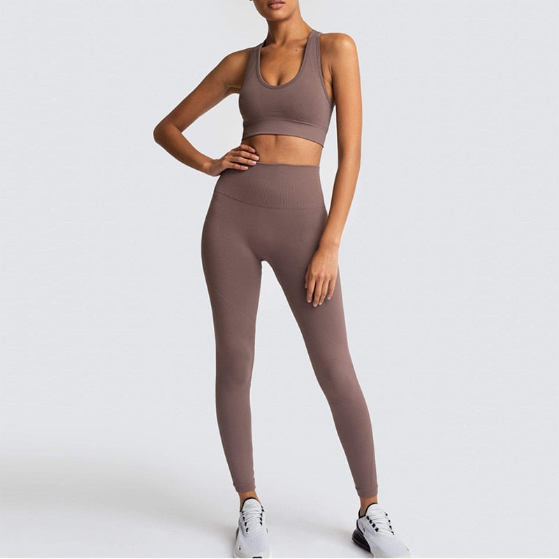 Women's Yoga Set Seamless Sportswear 2-Piece Gym Yoga Clothes Sports Bra + Leggings Running Wear Skinny Sports Set Suits