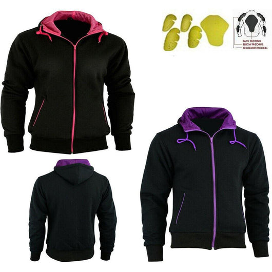 Ladies Fleece Hoodie Removable CE Armour Motorbike Jacket