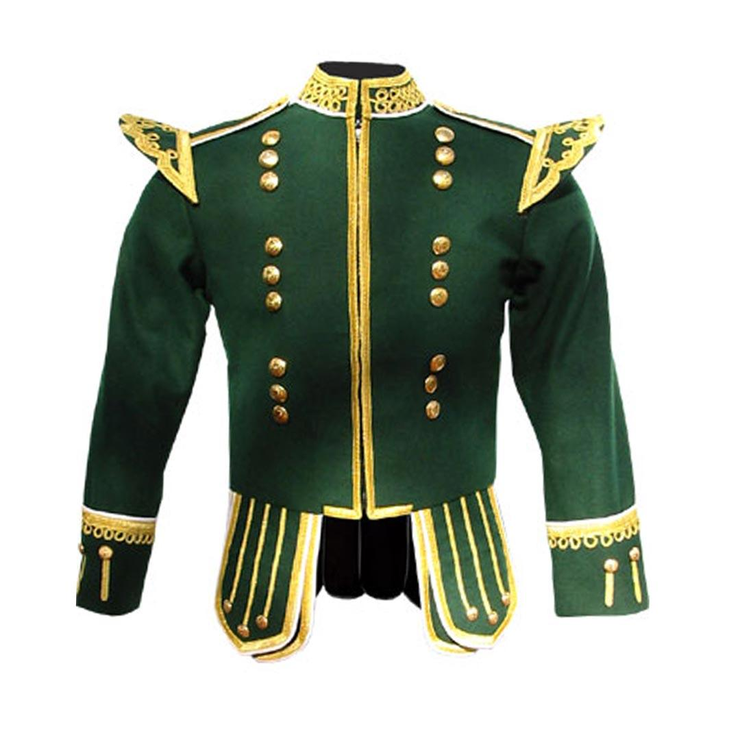 Green Pipe Band Doublet With Fancy Gold Trim