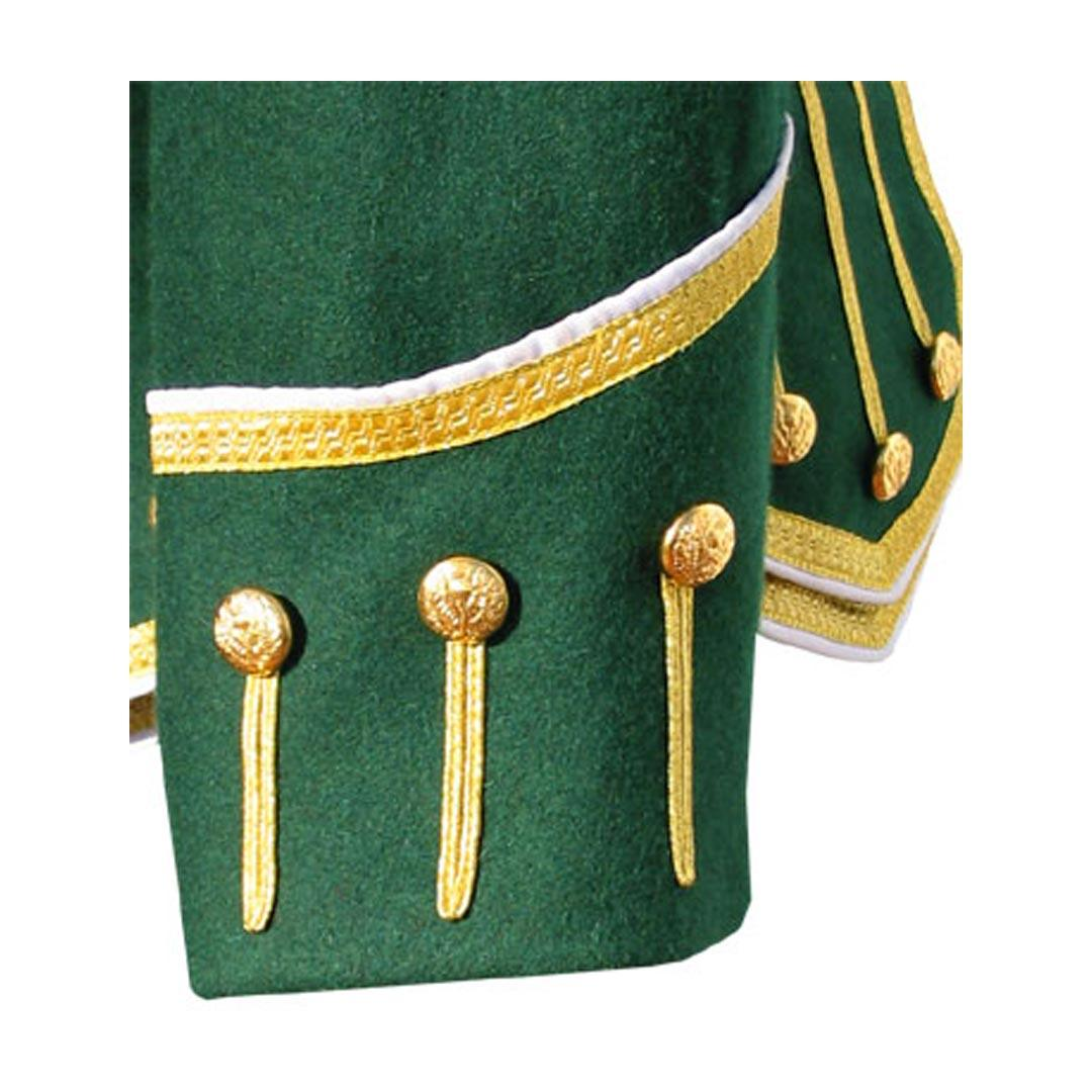 Green Pipe Band Doublet White Piping Gold Braid