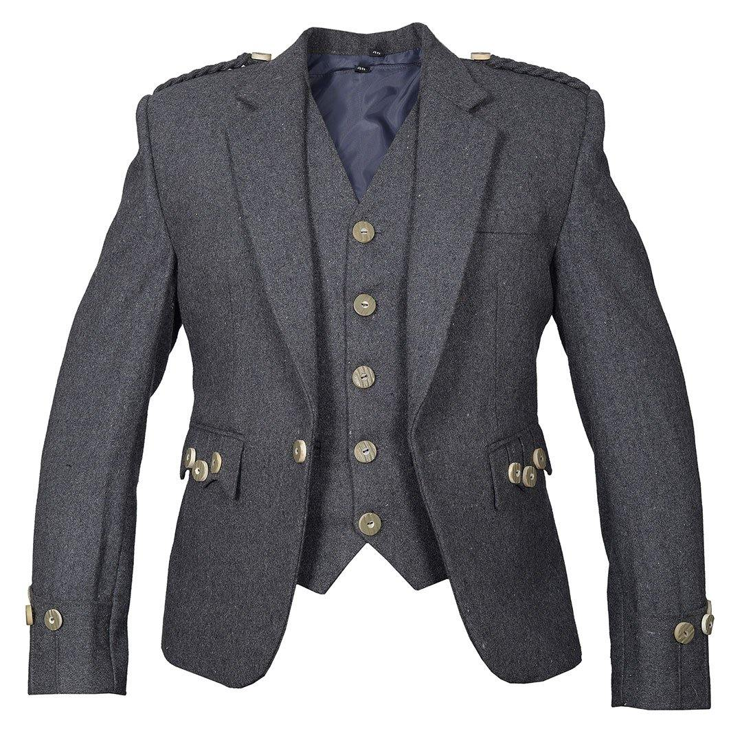 Grey Argyll Jacket And Vest Pure Blazer Wool