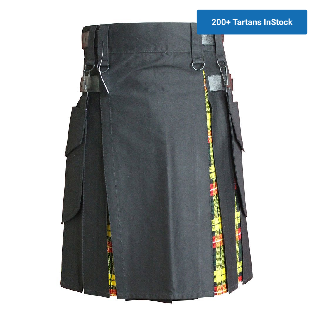 imperial-highland-supplies-black-hybrid-kilt-with-buchanan-tartan-front