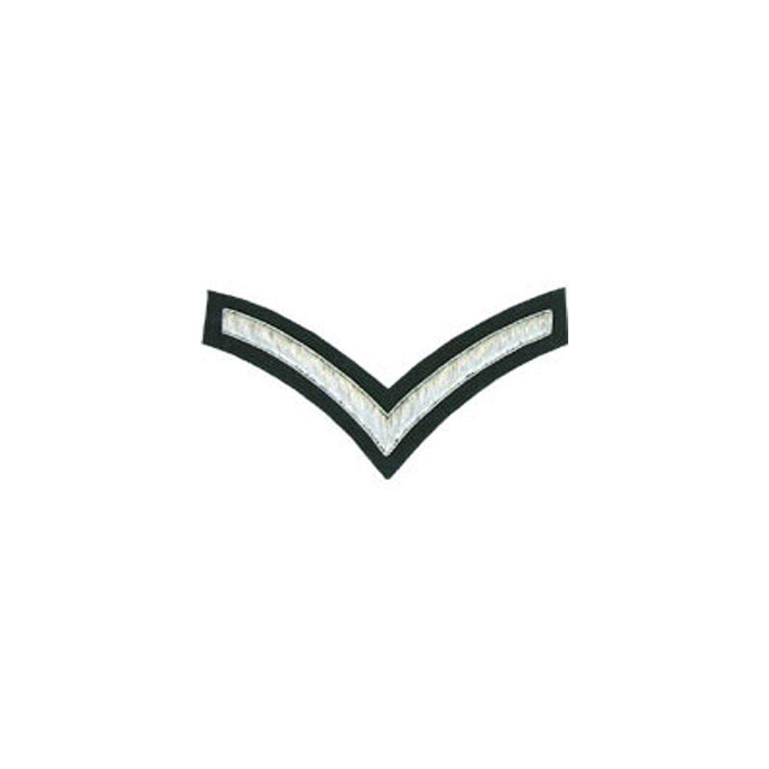 imperial-highland-supplies-1-stripe-chevron-badge-silver-bullion-on-green