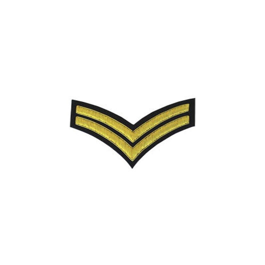 imperial-highland-supplies-2-stripes-chevron-badge-gold-bullion-on-black