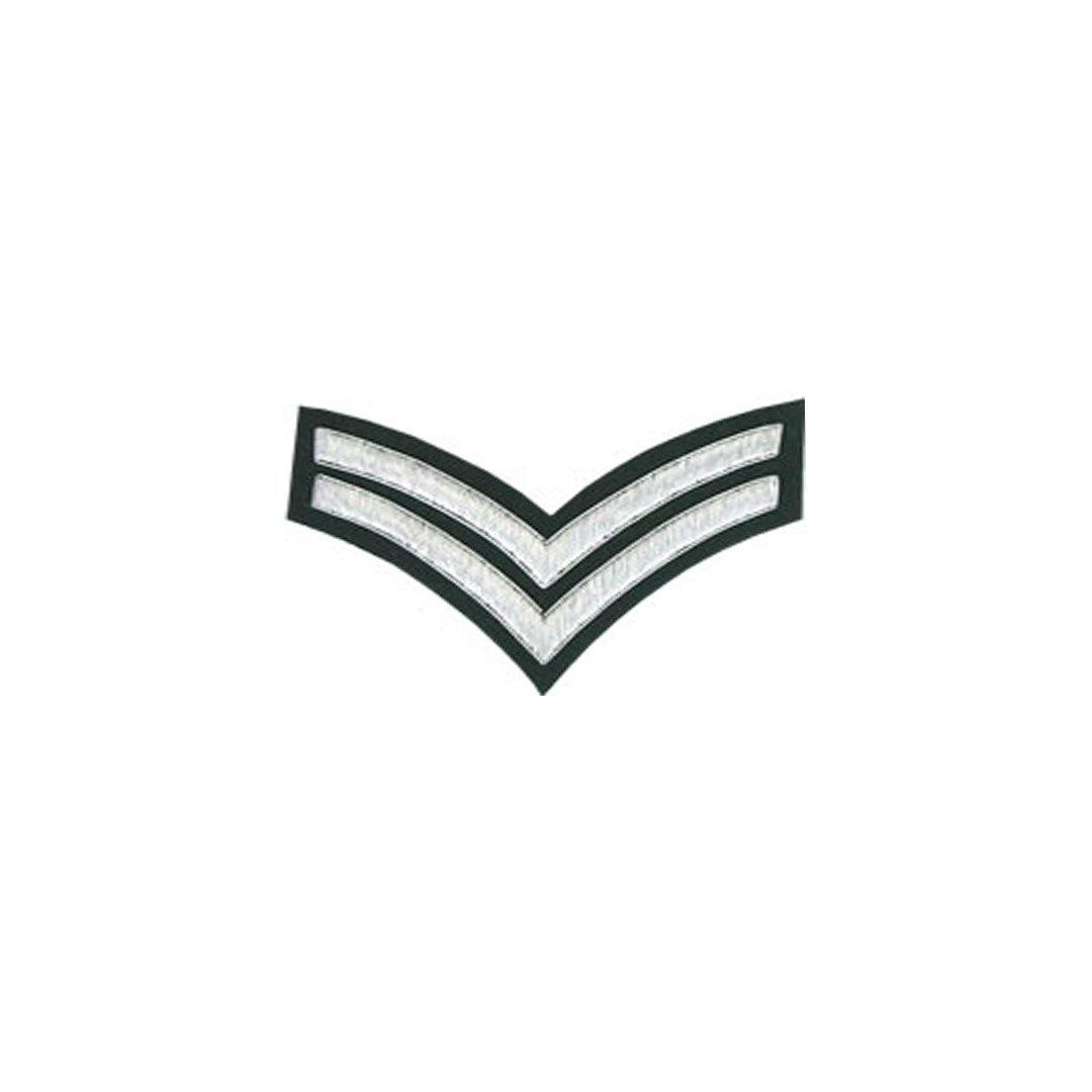 imperial-highland-supplies-2-stripes-chevron-badge-silver-bullion-on-green