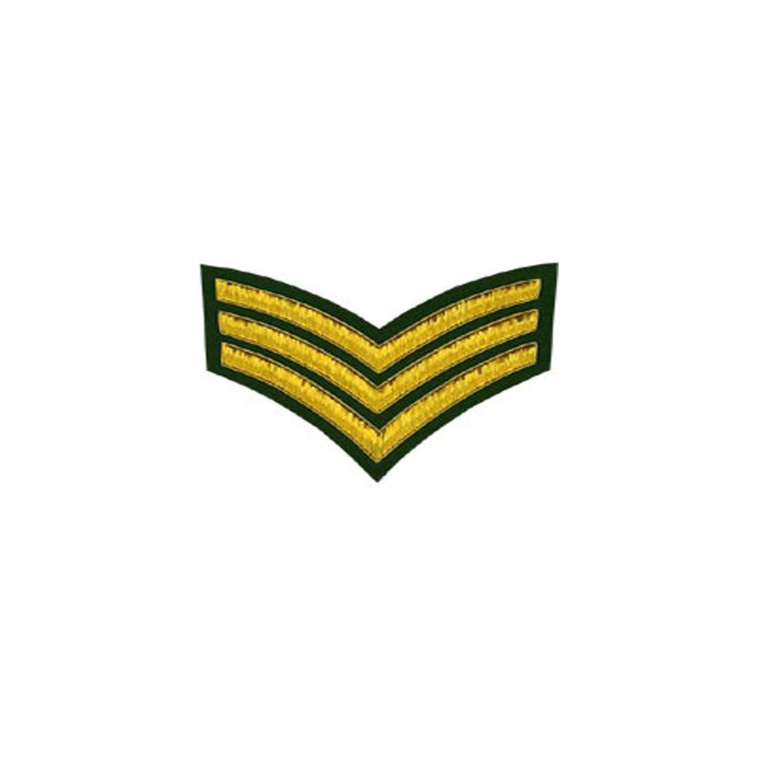 imperial-highland-supplies-3-stripes-chevron-badge-gold-bullion-on-green