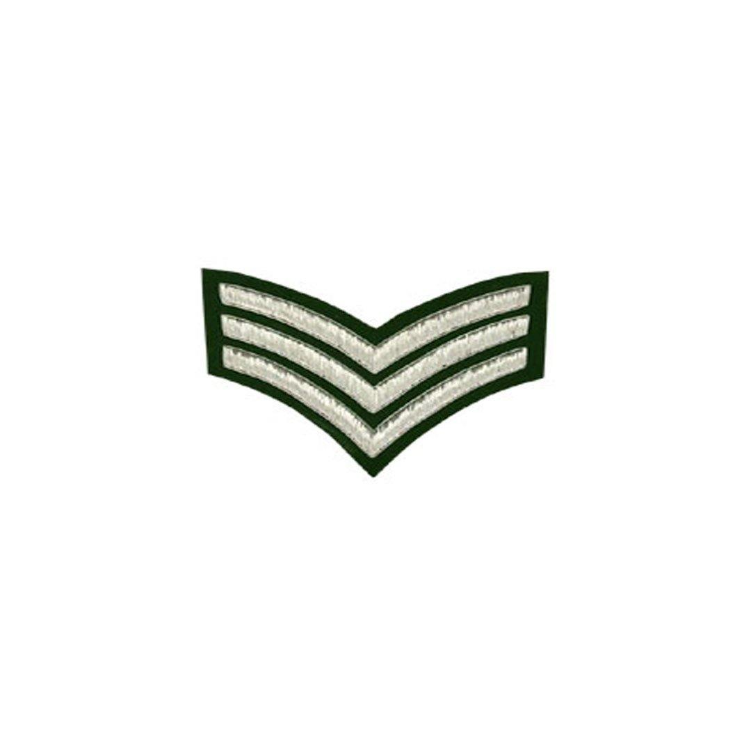 imperial-highland-supplies-3-stripes-chevron-badge-silver-bullion-on-green