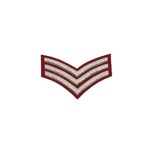 imperial-highland-supplies-3-stripes-chevron-badge-silver-bullion-on-red