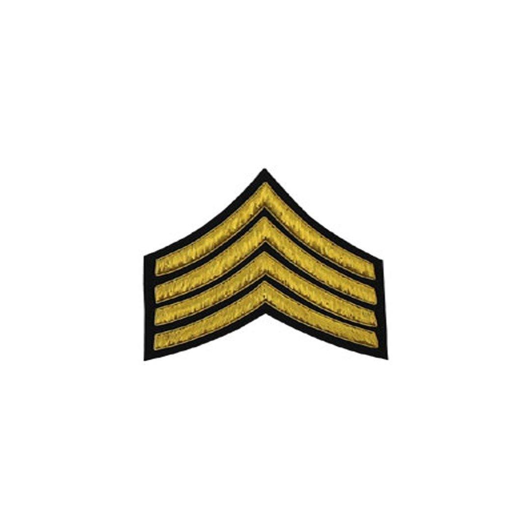 imperial-highland-supplies-4-stripes-chevron-badge-gold-bullion-on-black