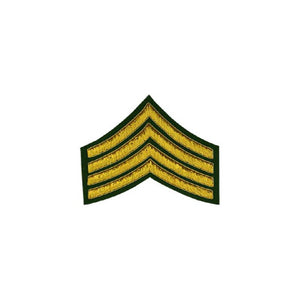 imperial-highland-supplies-4-stripes-chevron-badge-gold-bullion-on-green