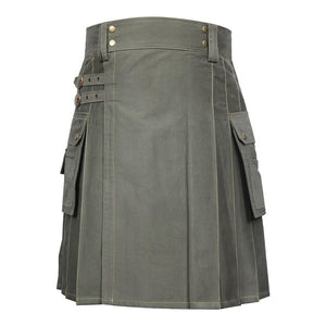 imperial-highland-supplies-classic-men-utility-kilt-heavy-cotton-olive-green-color-front